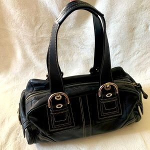 Coach Black Leather Mia Shoulder Satchel Bag